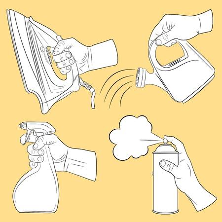 verfblik: Handen en enige verzameling objecten Stock Illustratie