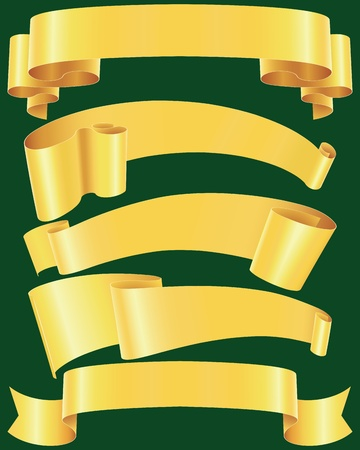 ragged: Ragged gold banners set(vector, CMYK)