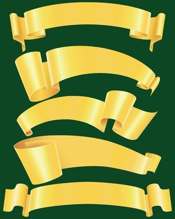 roztrhaný: Ragged gold banners set(vector, CMYK)