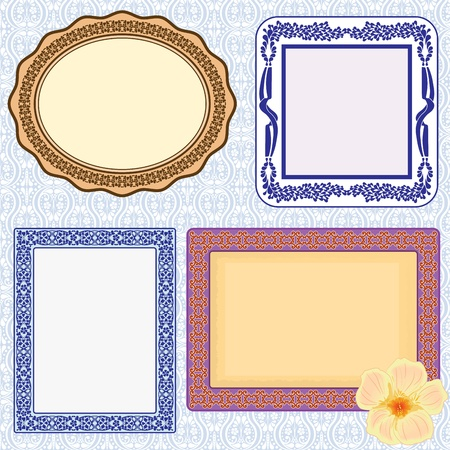 mirror on wall: Elegant frame set(vector, CMYK)