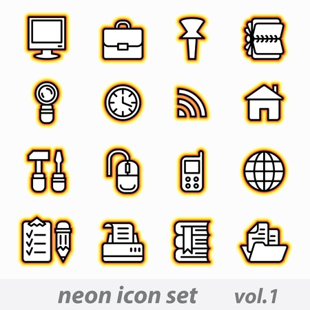 Neon icon set Stock Vector - 11283494