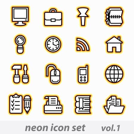 Neon icon set Ilustrace
