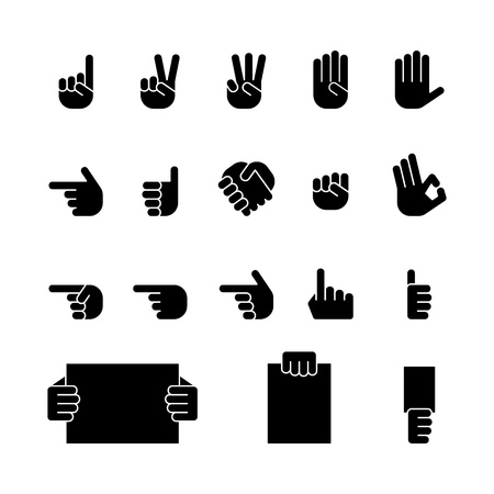 pointing hand: computer icon set