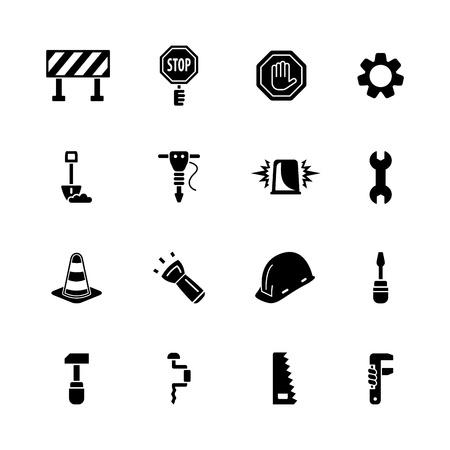 trabajando duro: equipo conjunto de iconos