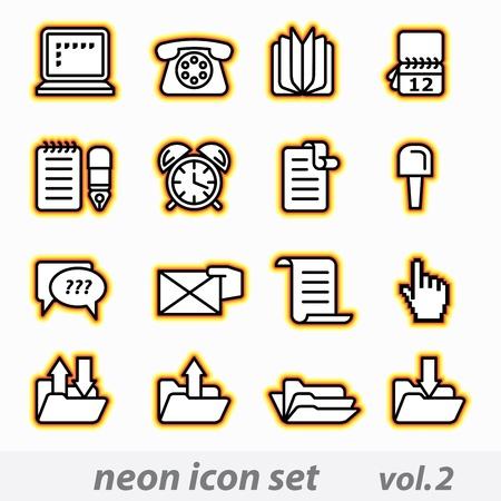net book: neon icon set(vector, CMYK)