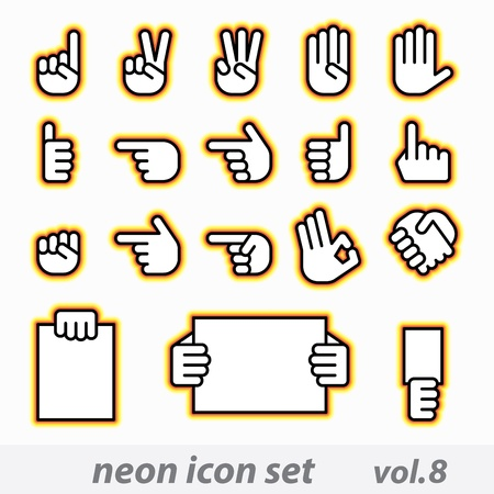 fingers: neon icon set vector, CMYK