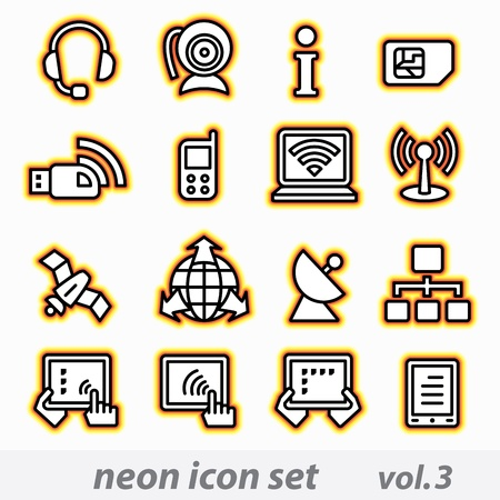 neon icon set vector, CMYK