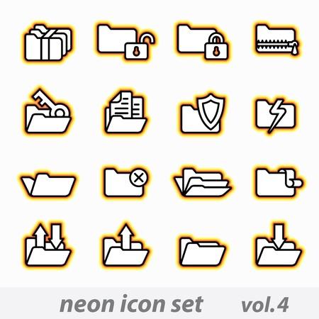 lightning arrow: neon icon set vector, CMYK