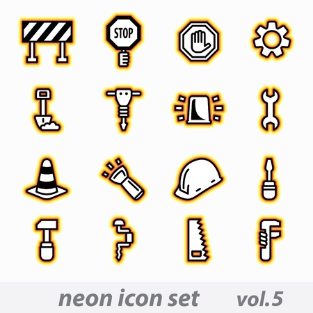 neon icon set vector, CMYK Stock Vector - 16268856