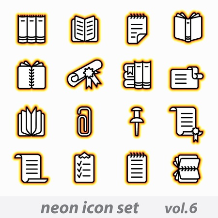 neon icon set vector, CMYK  Vector
