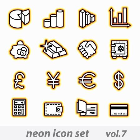 gold ingot: neon icon set vector, CMYK
