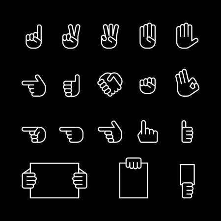 five fingers: computer icon set