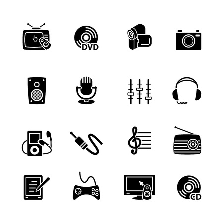 Multimedia computer icon set Stock Vector - 16268745