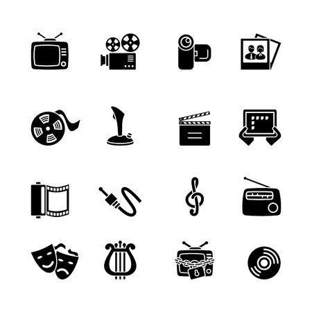 Multimedia computer icon set Vector