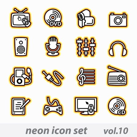 neon multimedia computer icon set Illustration