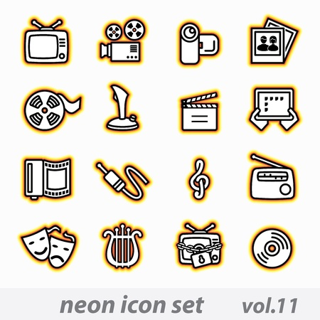 lyre: neon multimedia computer icon set Illustration