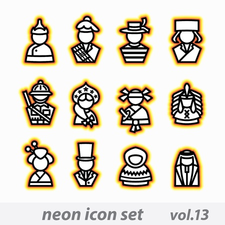 gondolier: neon icon set vector, CMYK