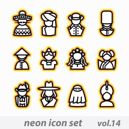 hasid: neon icon set vector, CMYK