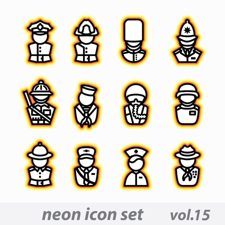 guardsman: neon icon set vector, CMYK