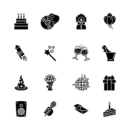 cake balls: birthday icons set Illustration