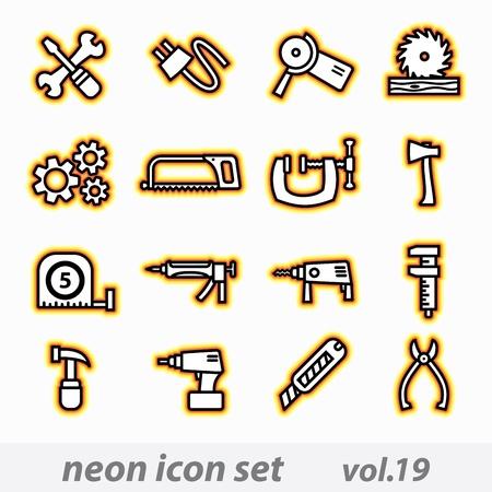silicone gun: neon icon set(vector, CMYK)
