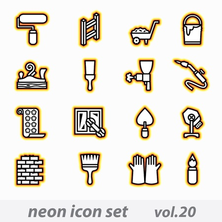 concrete mixer: neon icon set(vector, CMYK)