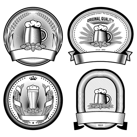 barley hop: four vector  labels Illustration