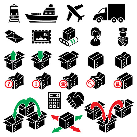 vector parcel delivery icon set Vector