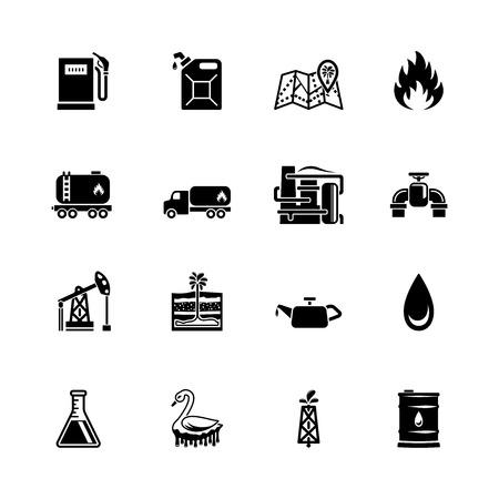 oil pump: vector oil icon set