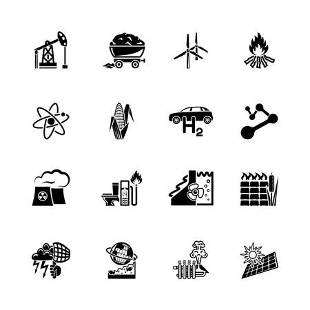 peat: renewable energy  vector icon set