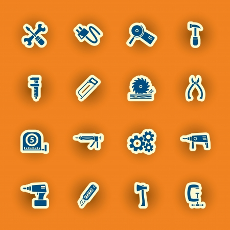 silicone gun: vector homebuilding and construction icons set Illustration