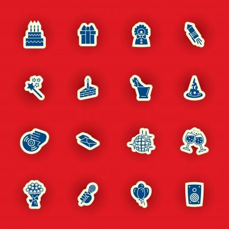vector birthday icon set