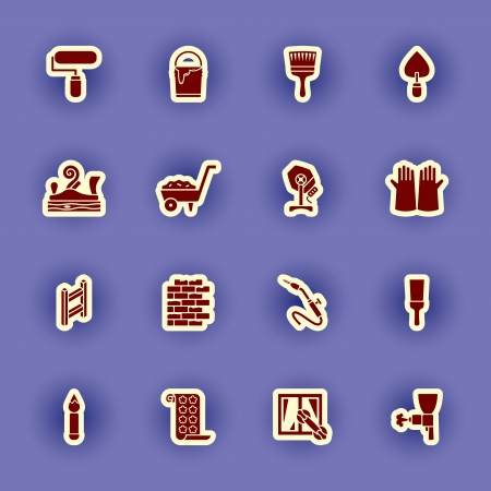 pulverizer: vector homebuilding and construction icons set Illustration