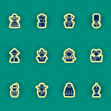 israelite: vector people icon set