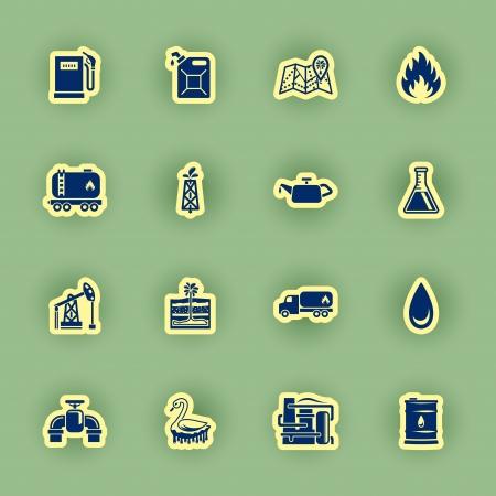 toxic barrels: vector icon set aceite