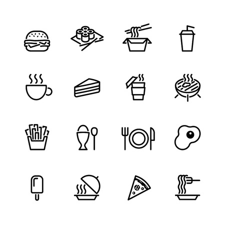 eating fast food: food icon set