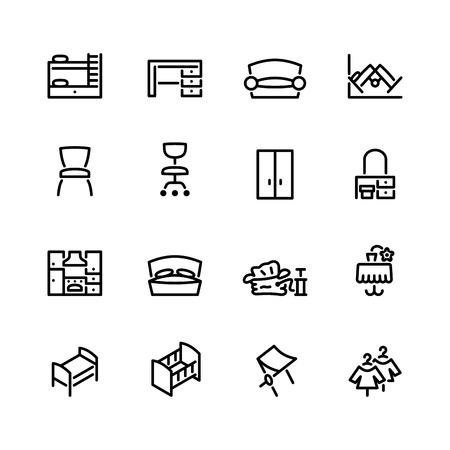bunk bed: furniture icon set Illustration