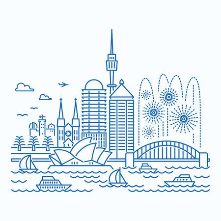 Sydney (Australië) skyline uitzicht op de waterkant. Vlakke stijl.