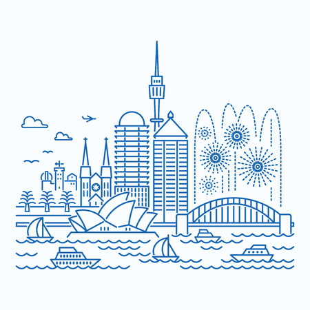 Sydney (Australia) skyline waterfront view. Flat style.