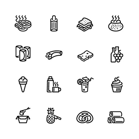 pita bread: food icon set