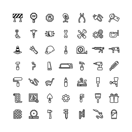 perforator: Forty nine black outline tool icons isolated on white Illustration