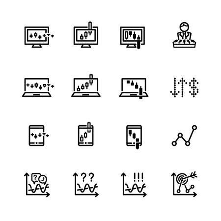 asian man laptop: sixteen black outline market icons isolated on white