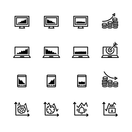bear market: sixteen black outline market icons isolated on white