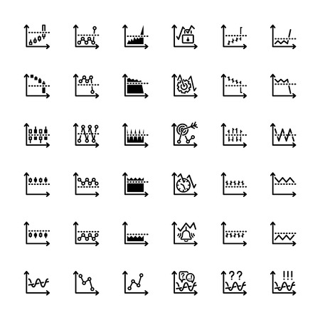 bear market: thirty six black outline market icons isolated on white Illustration