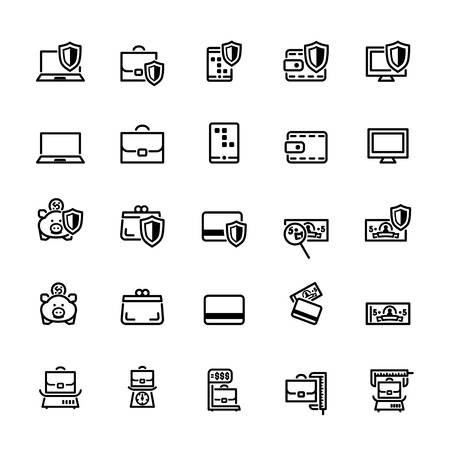 display size: twenty five black outline finances icons isolated on white