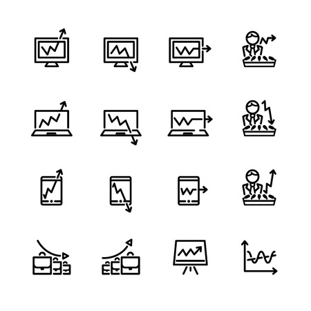 laptop icon: sixteen black outline market icons isolated on white