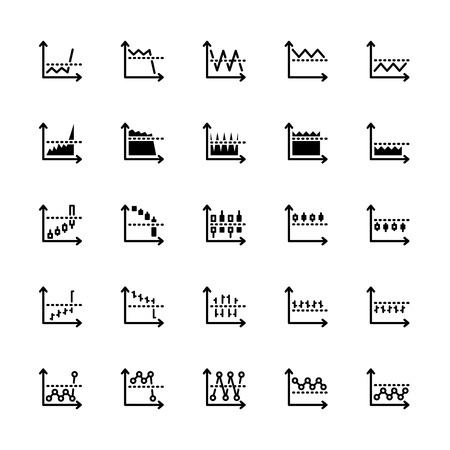 bear market: twenty five black outline market icons isolated on white