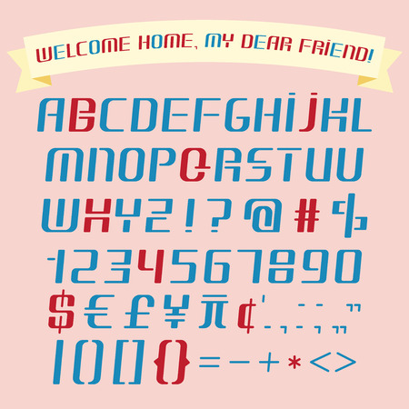 italic: Alphabet, numbers, punctuation marks set and funny banner isolated on pink background .Italic flat font. Lower case.