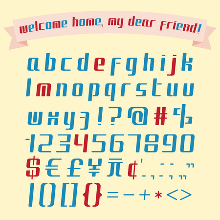 italic: Alphabet, numbers, punctuation marks set and funny banner isolated on yellow background .Italic flat font. Lower case. Illustration
