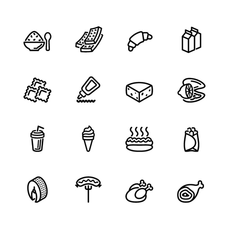 lunch box: food icon set
